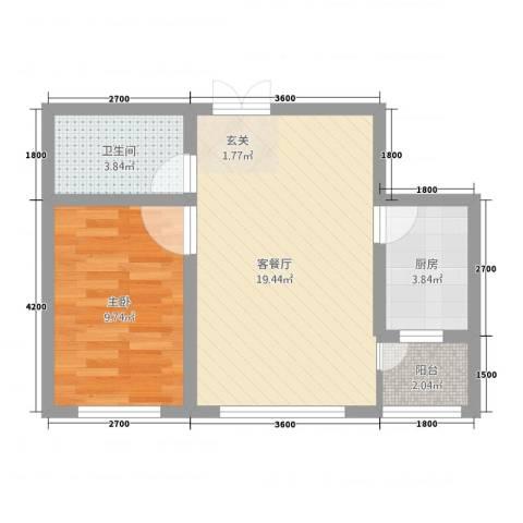 渤海玉园1室1厅1卫1厨56.00㎡户型图