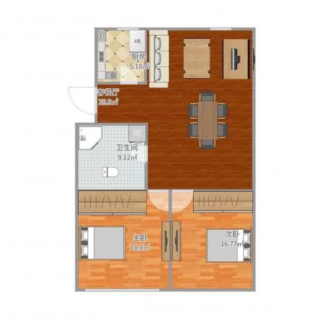 艮园2室1厅1卫1厨118.00㎡户型图