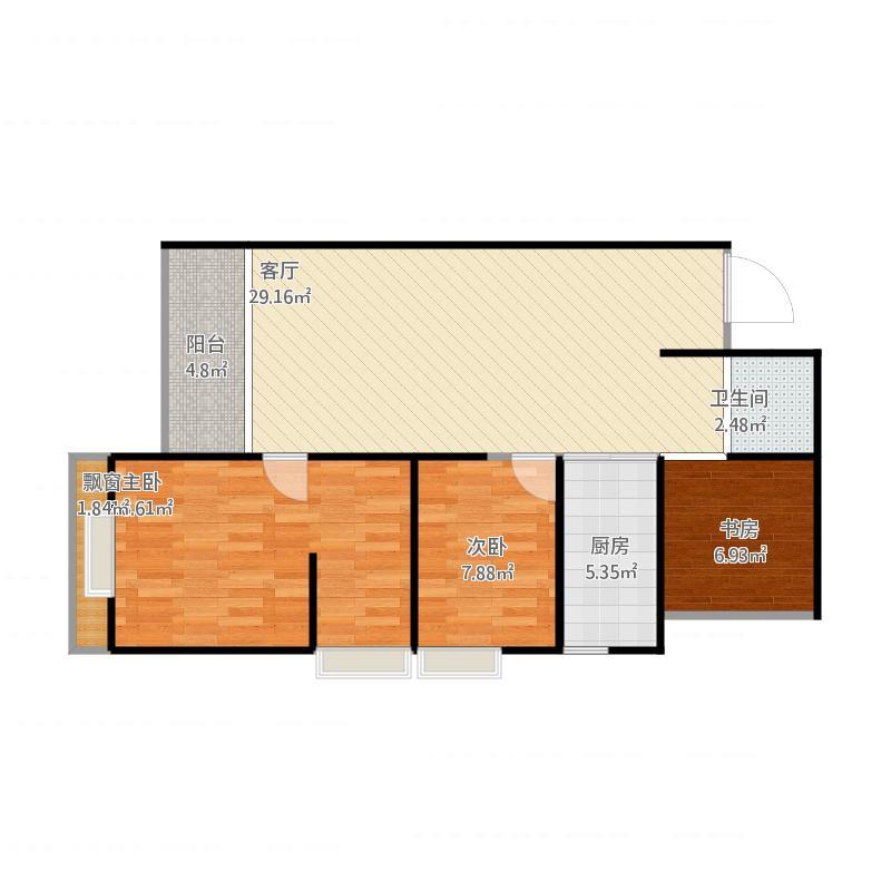 昆明联想科技城的96方E户型3室2厅2卫图