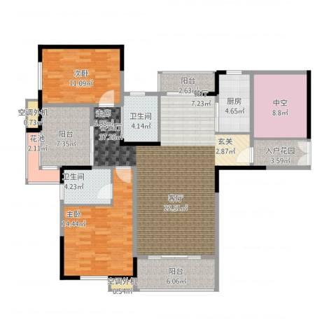 新乡星海传说2室1厅3卫1厨152.00㎡户型图