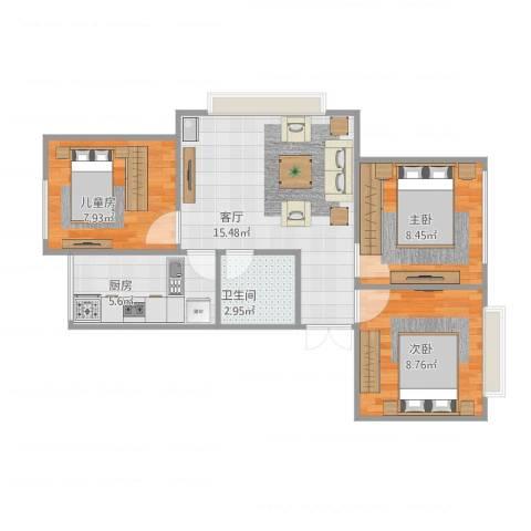 碧兴园3室1厅1卫1厨67.00㎡户型图
