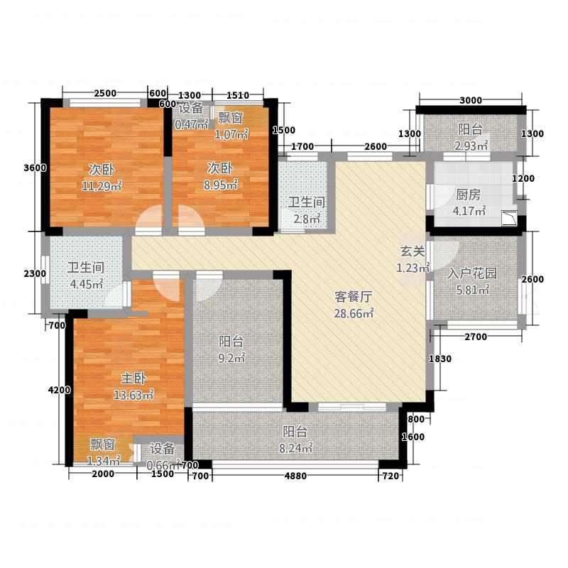 新洪茂・黔南印象111.36㎡1、2#楼2#户型3室2厅2卫