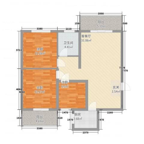 云天・臻品3室1厅1卫1厨113.00㎡户型图