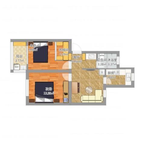 万寿新村2室1厅1卫1厨73.00㎡户型图
