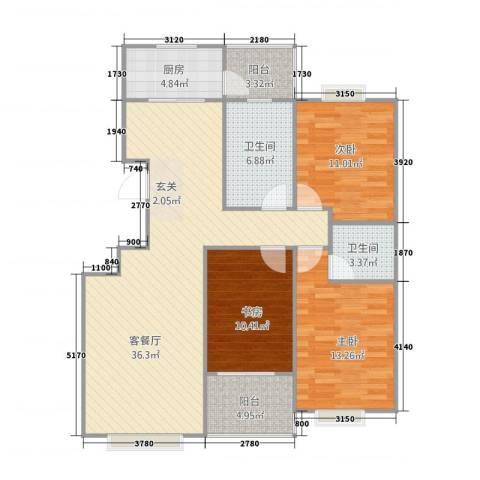 世好国际花园3室1厅2卫1厨127.00㎡户型图