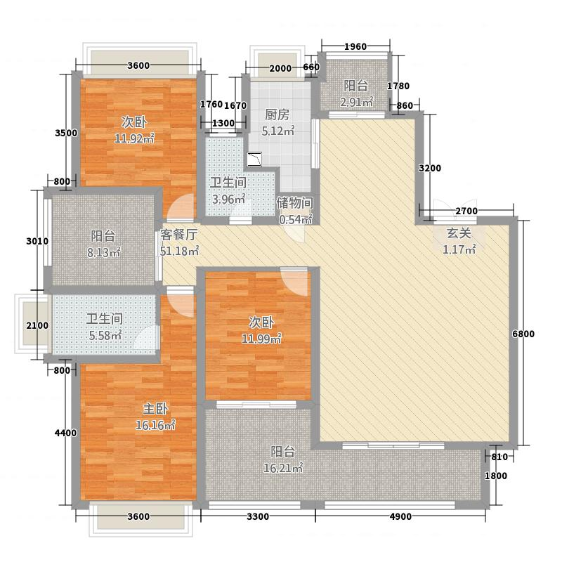 正方世和苑176.81㎡1栋A户型4室2厅2卫1厨