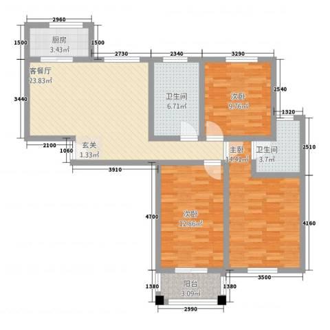 新都市华庭3室1厅2卫1厨115.00㎡户型图