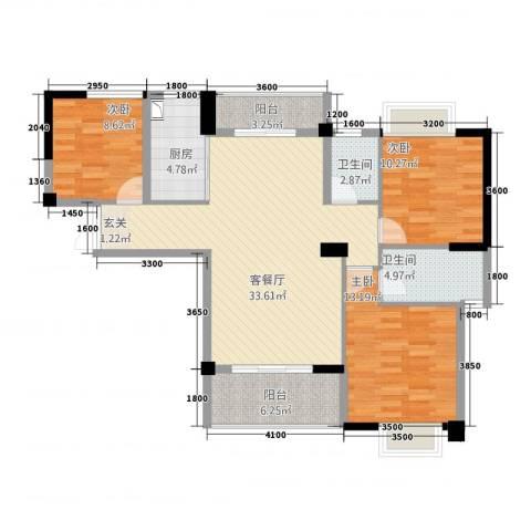 帝豪时代广场3室1厅2卫1厨123.00㎡户型图