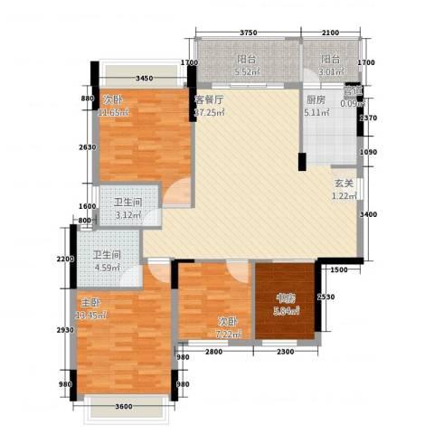 大华・富贵世家4室1厅2卫0厨91.73㎡户型图