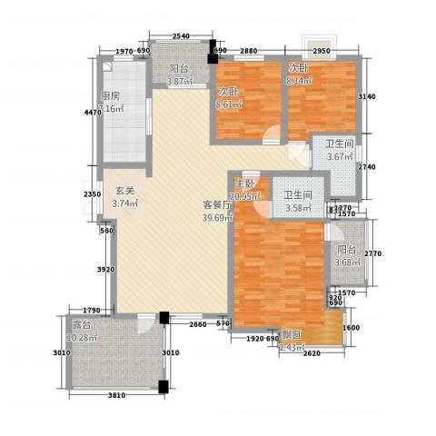 栾城天山水榭花都3室1厅2卫1厨156.00㎡户型图