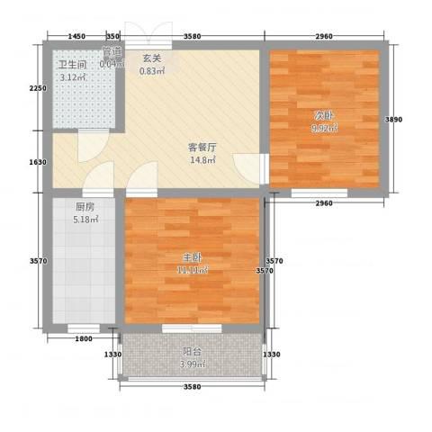 联盟小区西厢园2室1厅1卫1厨72.00㎡户型图