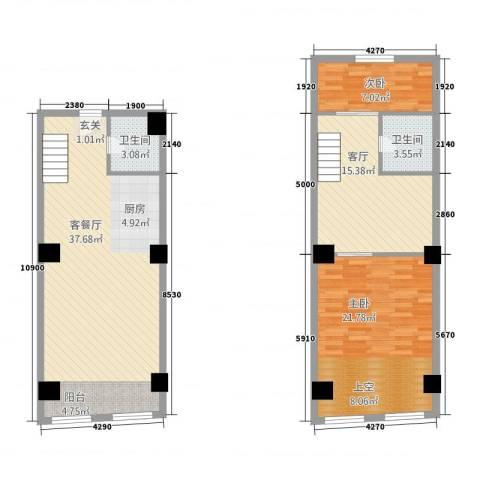通达国际2室2厅2卫0厨100.39㎡户型图