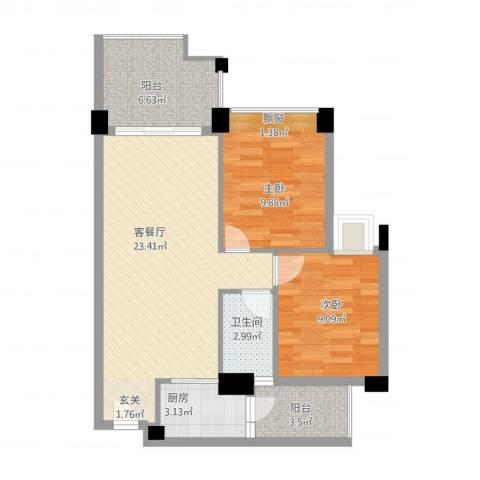 塞纳城市嘉园2室1厅1卫1厨84.00㎡户型图