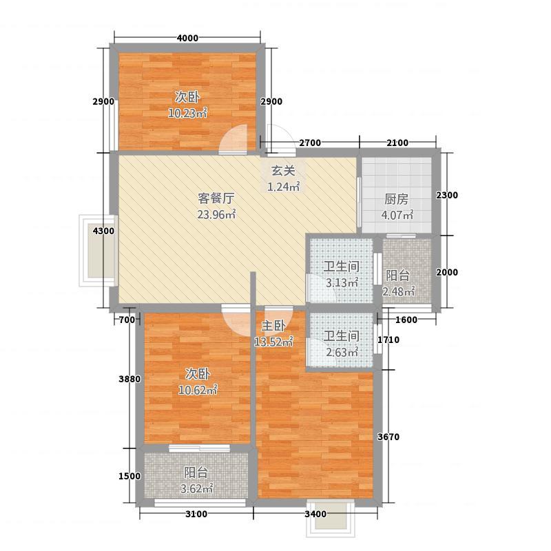 逸景华庭11.47㎡E户型3室2厅2卫1厨
