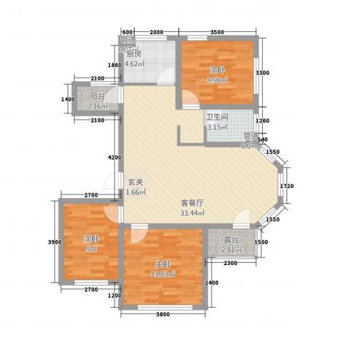 东地华庭3室1厅1卫1厨106.00㎡户型图