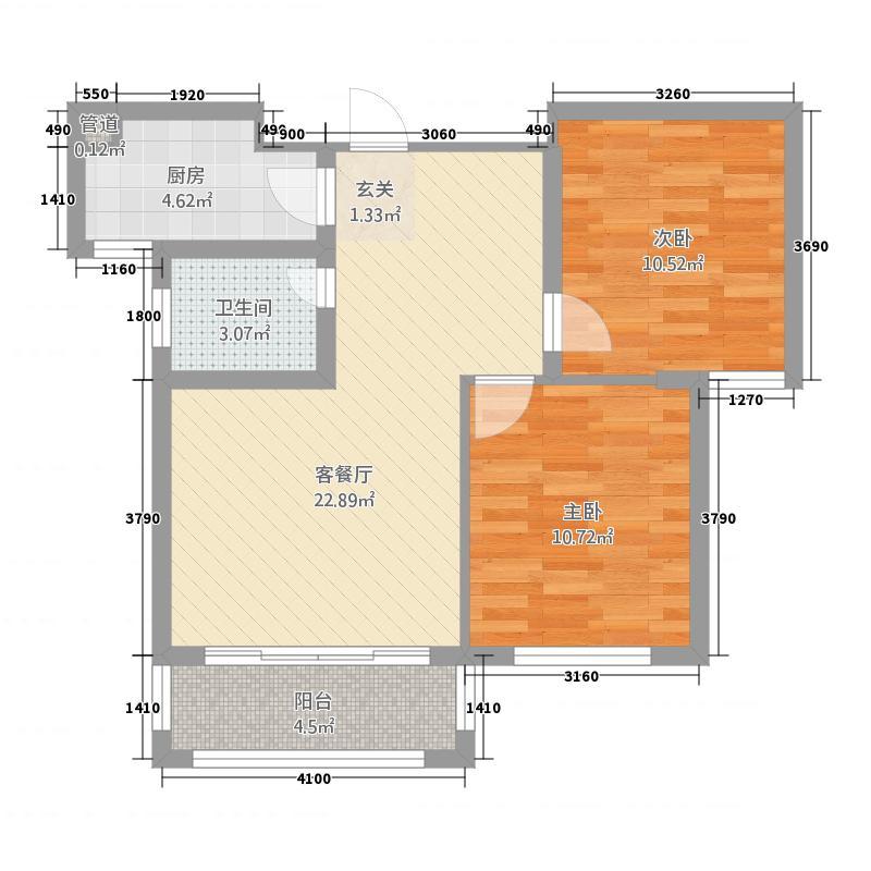 敖木伦国际花园81.00㎡81户型2室2厅1卫1厨