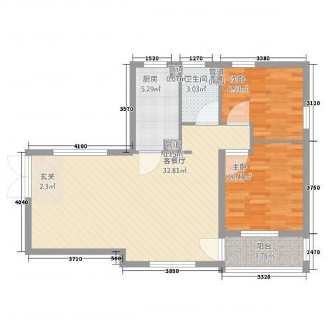 谭家小区2室1厅1卫1厨91.00㎡户型图