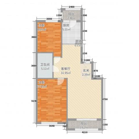 君悦国际城2室1厅1卫1厨75.98㎡户型图