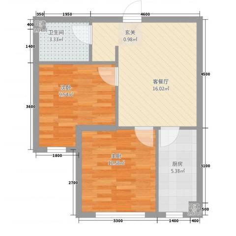 东方俪城2室1厅1卫1厨44.96㎡户型图