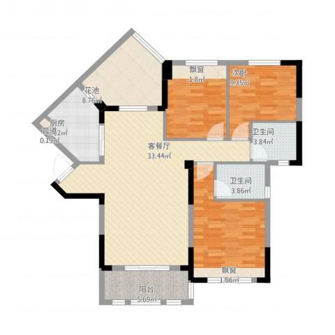 观澜御苑二期观澜御�台3室1厅2卫1厨135.00㎡户型图