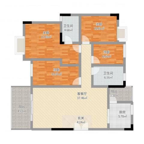 万科城市风景4室1厅2卫1厨159.00㎡户型图