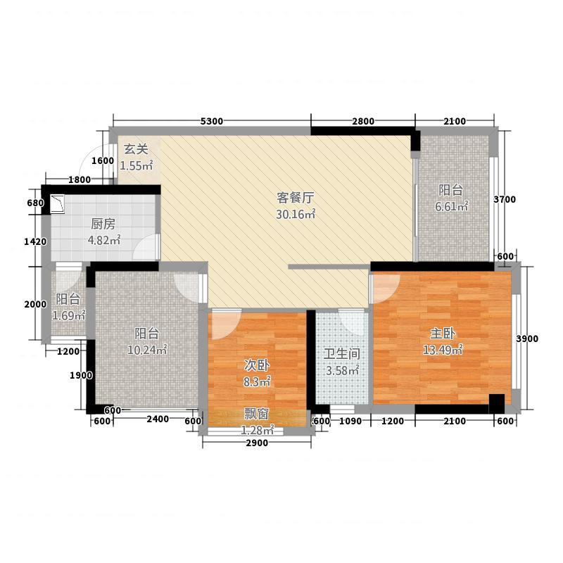 中天・鹭鸶湾4.40㎡变增送户型2室2厅1卫1厨