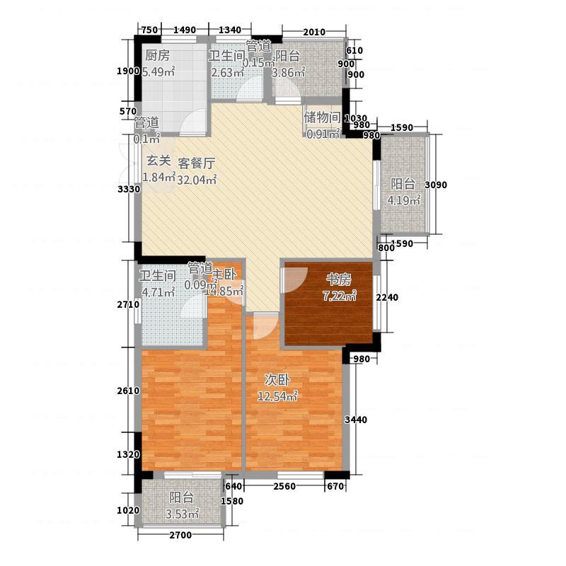 城市家园11313.20㎡c1-1户型3室2厅2卫1厨