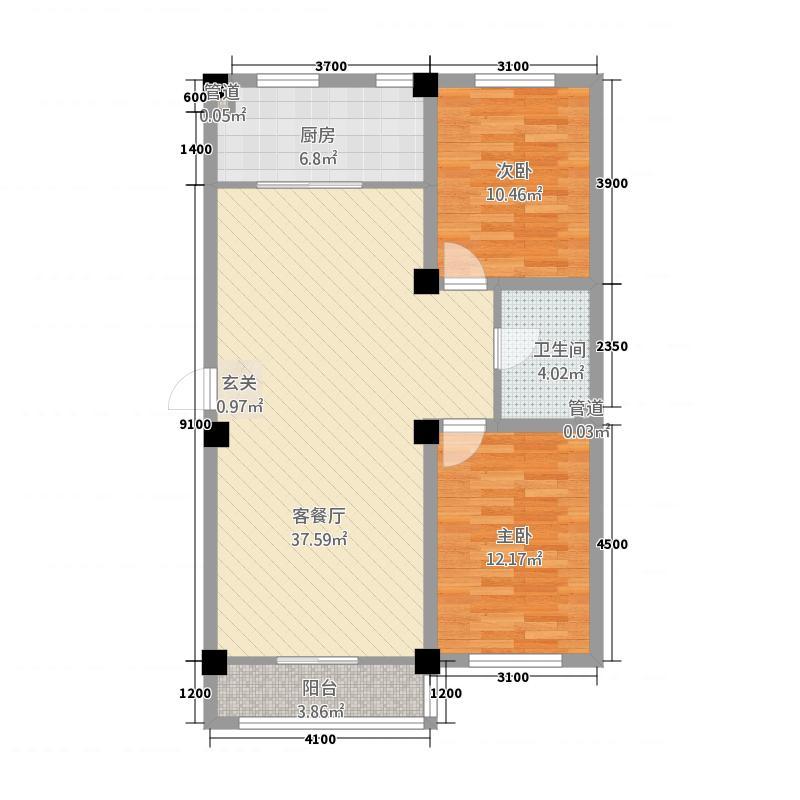 东方俪城户型2室2厅1卫1厨