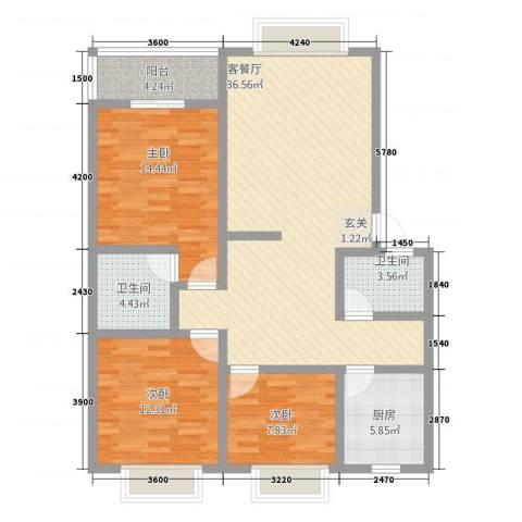 尚高城市花园3室1厅2卫1厨113.00㎡户型图