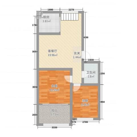 翡翠城2室1厅1卫1厨74.00㎡户型图