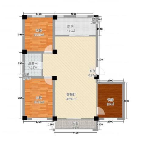 东方俪城3室1厅1卫1厨124.00㎡户型图