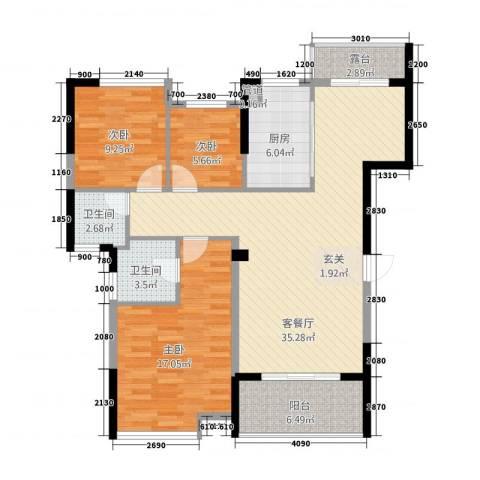 美集财富时代3室1厅2卫1厨114.00㎡户型图