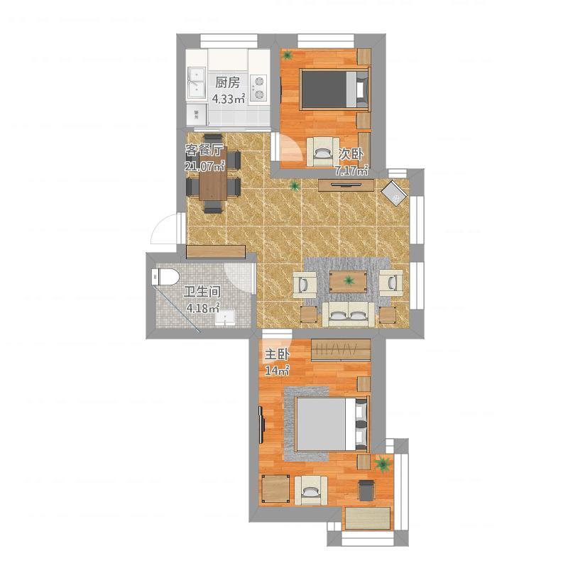 格林英郡76平BA户型两室两厅