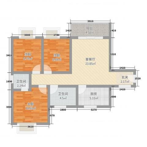 美集财富时代3室1厅2卫1厨68.24㎡户型图