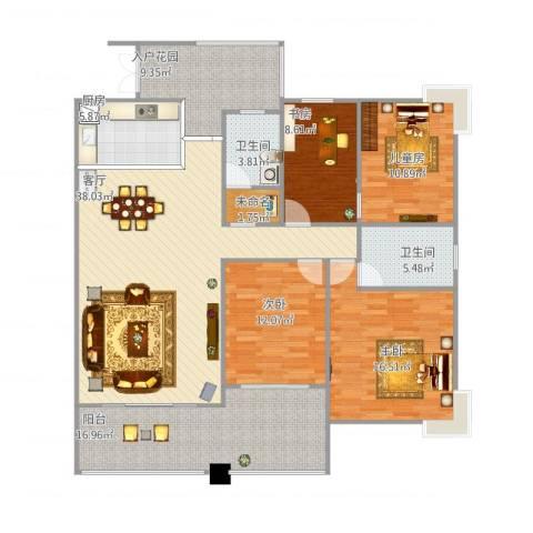 天瀑阳光4室1厅2卫1厨174.00㎡户型图