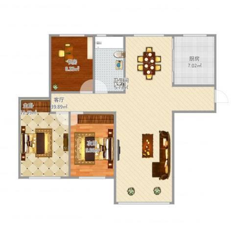 「大连天地」悦龙居3室1厅1卫1厨112.00㎡户型图