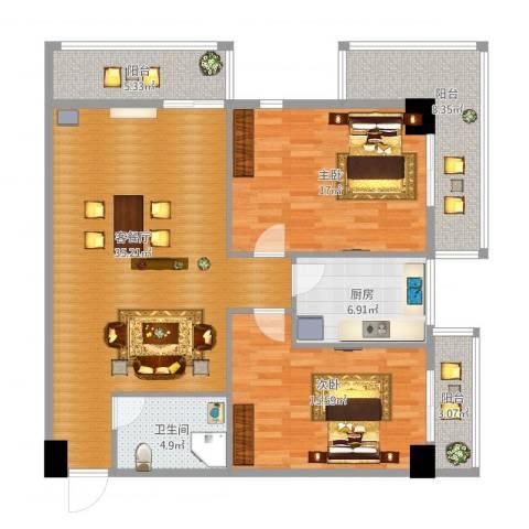 银基商贸城2室1厅1卫1厨134.00㎡户型图