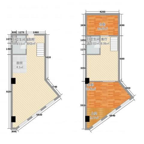通达国际2室2厅2卫0厨106.97㎡户型图