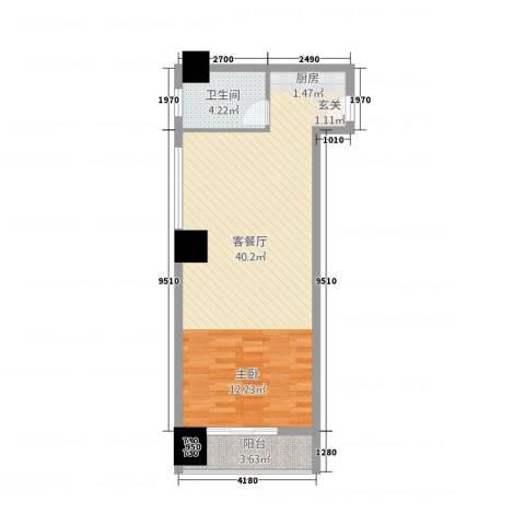 嘉宏盛世公寓1厅1卫0厨68.00㎡户型图
