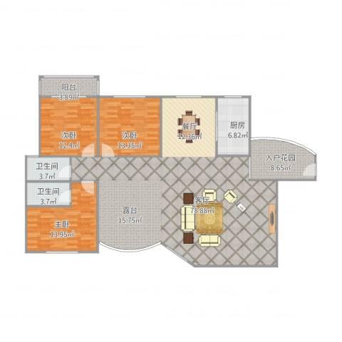 松柏华庭3室1厅2卫1厨192.00㎡户型图