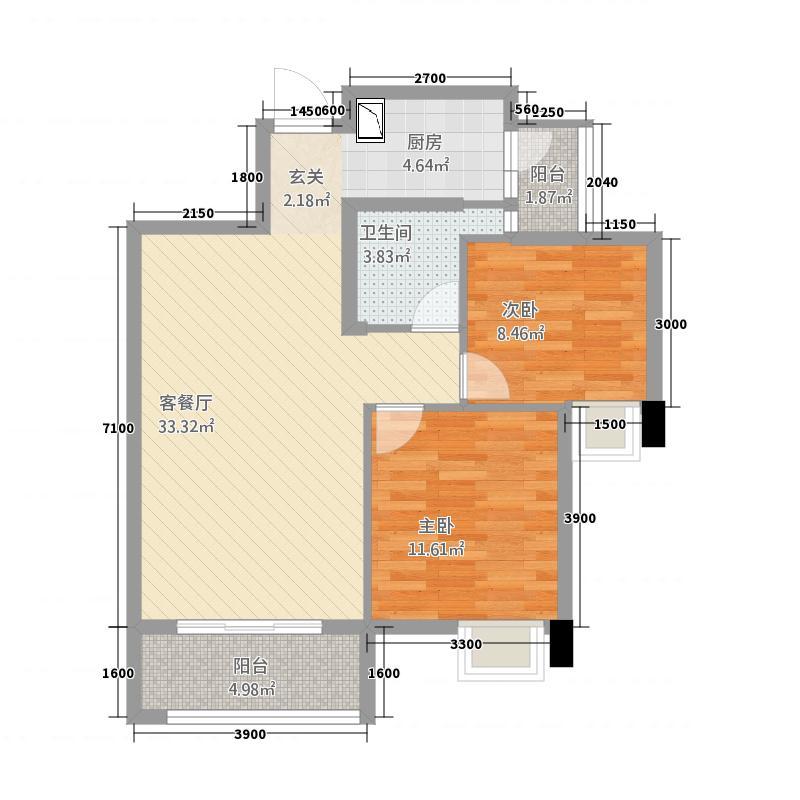 金都汇城市广场84.21㎡2#楼C户型2室2厅1卫1厨