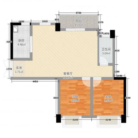 帝豪时代广场2室1厅1卫1厨62.36㎡户型图