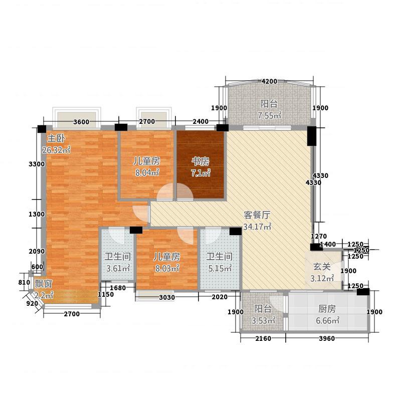 碧桂园・豪园134.80㎡J367T-C户型4室2厅2卫