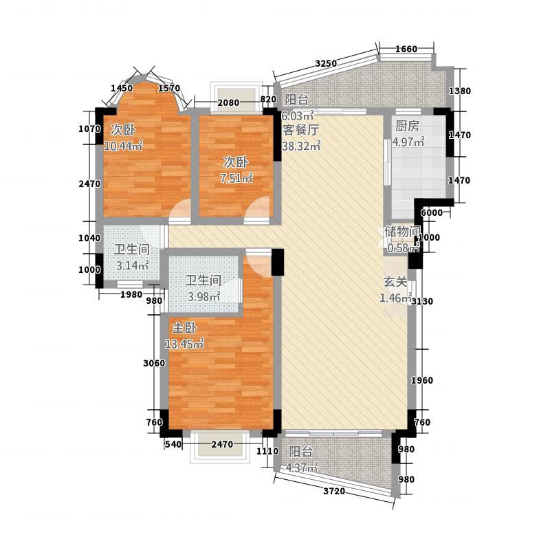 碧翠苑135.45㎡E户型3室2厅2卫