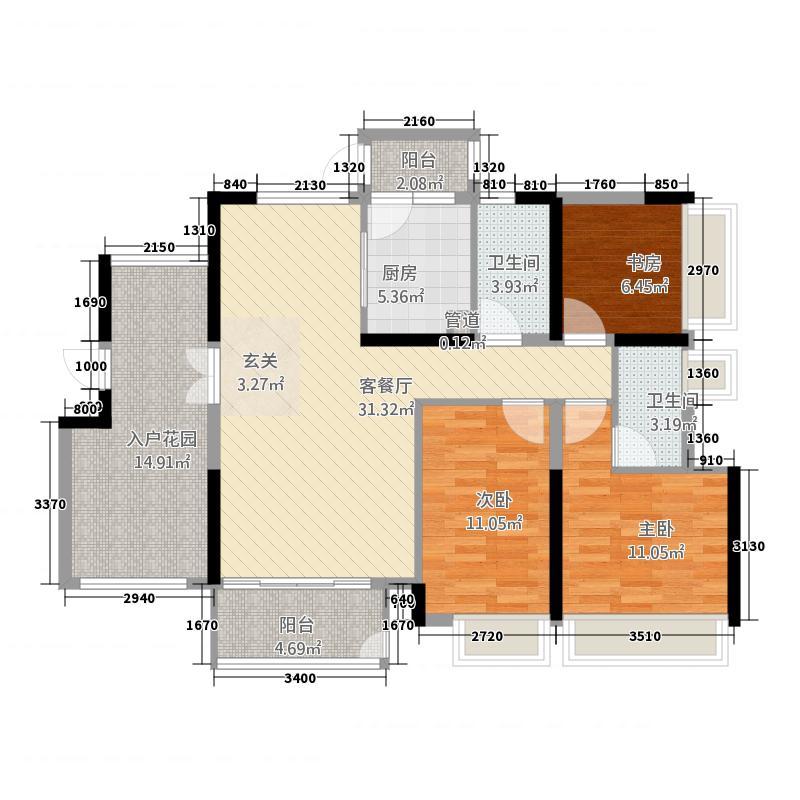 鑫炎・凤凰城145.17㎡(1)户型3室2厅2卫1厨
