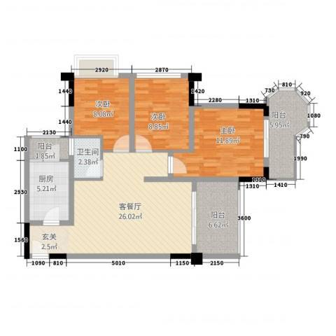 远宏・中环岛3室1厅1卫1厨88.36㎡户型图
