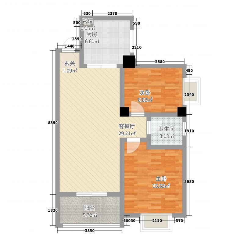龙腾福城8.60㎡D户型2室2厅1卫1厨