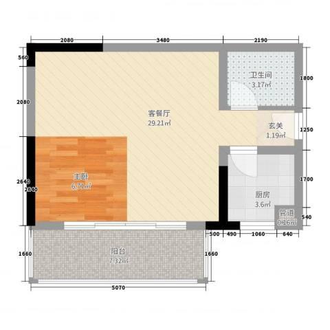 博萨瑞龙数码港1厅1卫1厨62.00㎡户型图