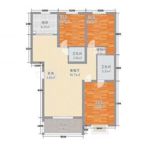 北方电力小区3室1厅2卫1厨145.00㎡户型图