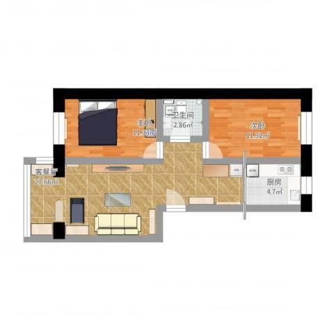 祥云小区2室1厅1卫1厨89.00㎡户型图